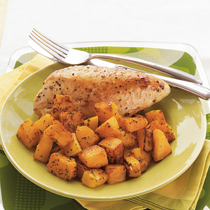 Roasted Chicken Breasts and Butternut Squash with Herbed Wine Sauce Recipe