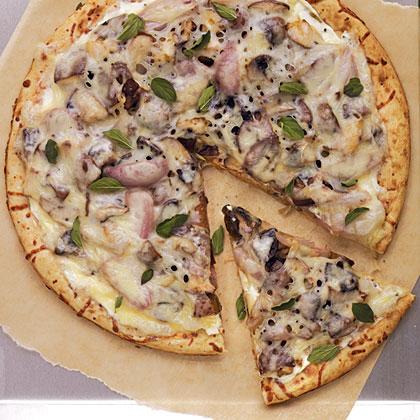 Roasted Mushroom and Shallot Pizza
