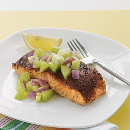 Roasted Salmon with Tomatillo—Red Onion SalsaRecipe
