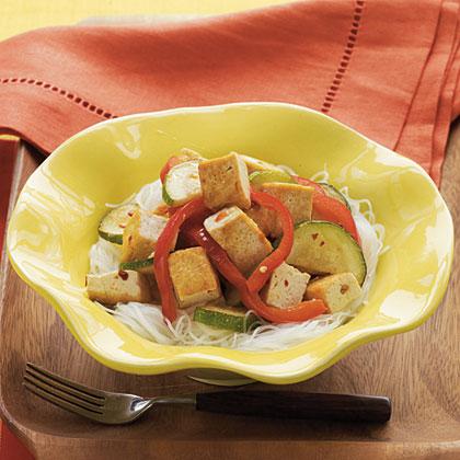 Sautéed Vegetables and Spicy Tofu Recipe | MyRecipes.com