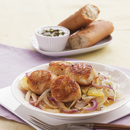 Seared Scallops with Sautéed Fennel, Orange, and Red OnionRecipe
