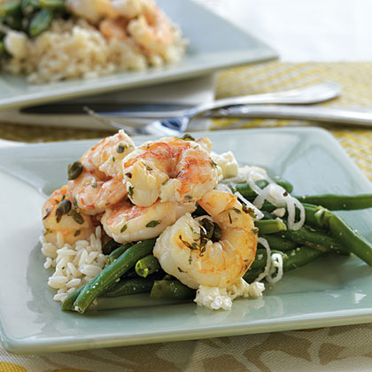 Shrimp with Capers, Garlic, and Rice