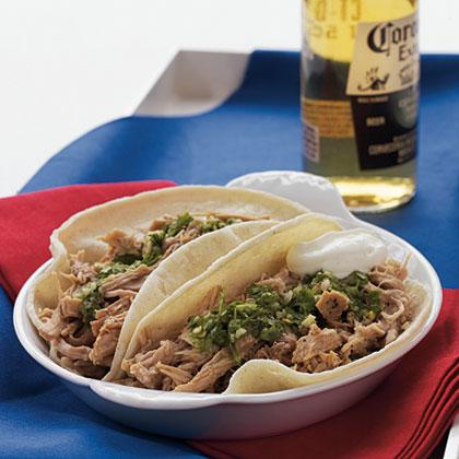 Slow-Cooker Pork Loin Carnita Tacos with Chimichurri Sauce