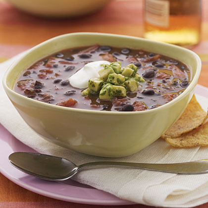 Smoky Black Bean Soup with Avocado-Lime Salsa