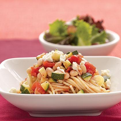 Spaghetti with Zucchini and White Beans Recipe