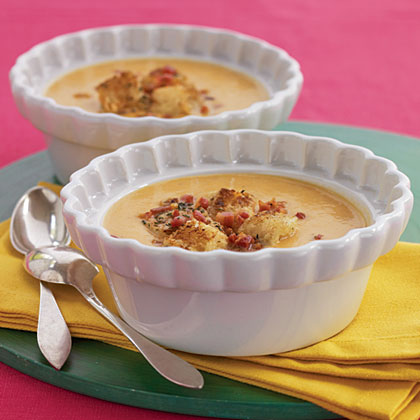 Sweet Potato Soup with Pancetta-Rosemary Croutons Recipe