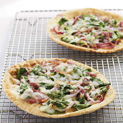 Whole Wheat Pita Pizzas with Spinach, Fontina, and Onions Recipe
