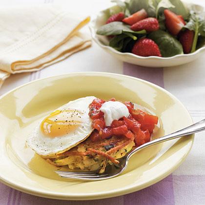 Zucchini-Potato Pancakes with EggsRecipe