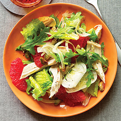 Green Salad With Chicken And Pink Grapefruit Recipe Myrecipes Com