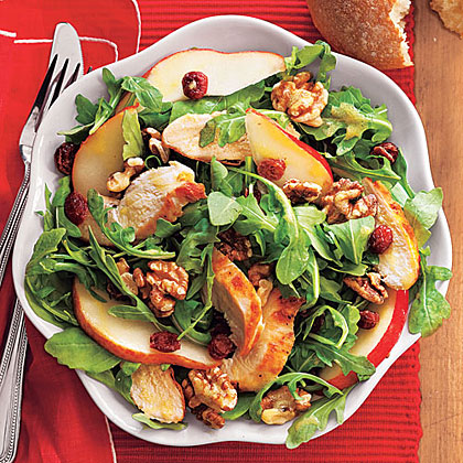 Chicken and Pears over Arugula
