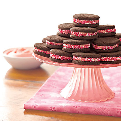 Take back Monday by making sweet chocolate sandwich cookies filled with red-tinted icing. One batch and you'll be enjoying a festive single-serving treat all week long.Chocolate Sandwich Cookies Recipe