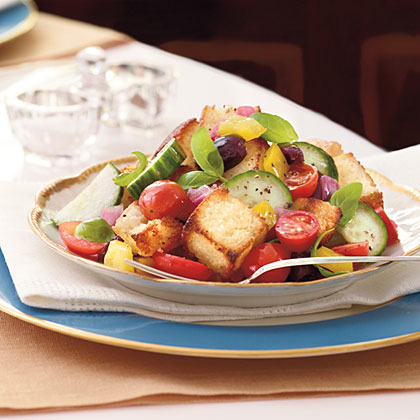 Panzanella Salad with Cornbread Croutons Recipe