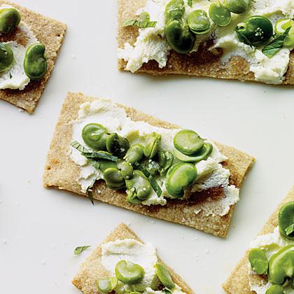Favas and Ricotta on Buttermilk Crackers Recipe