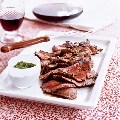 Cumin-Pepper Flank Steak with Horseradish Chimichurri Recipe