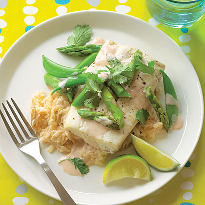 Halibut Parchment Packets with Coconut-Almond Rice