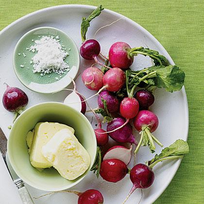 Radishes, Fresh Homemade Butter, and Salt