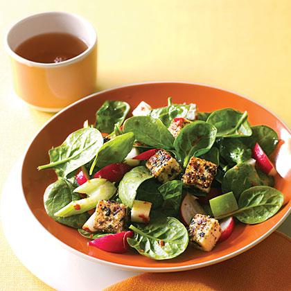 Spinach Dinner Salad with Sesame TofuRecipe