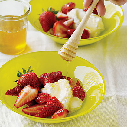 Strawberries with Fromage Blanc and Lemon Honey