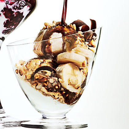 Coffee-Drenched Ice Cream with Banana and Peanuts