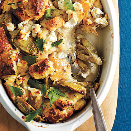 Artichoke and Goat Cheese Strata