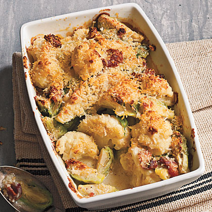 Crispy Topped Brussels Sprouts and Cauliflower Gratin