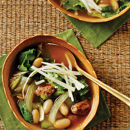 Escarole, Bean, and Sausage Soup with Parmesan CheeseRecipe