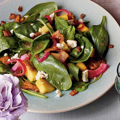 Mango-Spinach Salad with Warm Bacon Vinaigrette