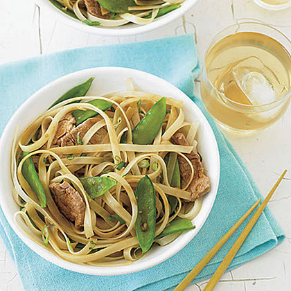 Stir-Fried Pork, Snow Peas and Rice NoodlesRecipe