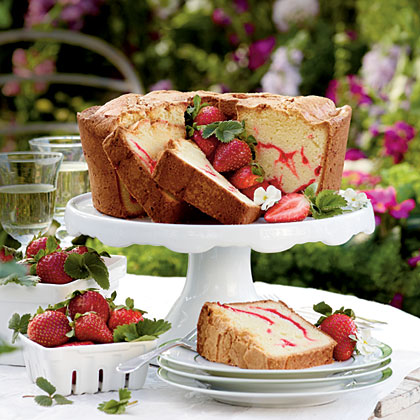 Strawberry Swirl Cream Cheese Pound Cake