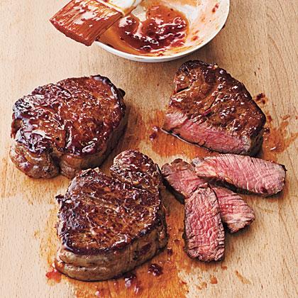 Broiled Tenderloin Steaks with Ginger-Hoisin Glaze