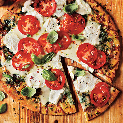 White Pizza with Tomato and Basil Recipe | MyRecipes.com