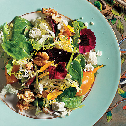 Beets with Walnuts, Goat Cheese, and Baby GreensRecipe
