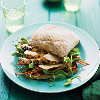 Grilled Chicken and Pea Shoot Charmoula SandwichesRecipe