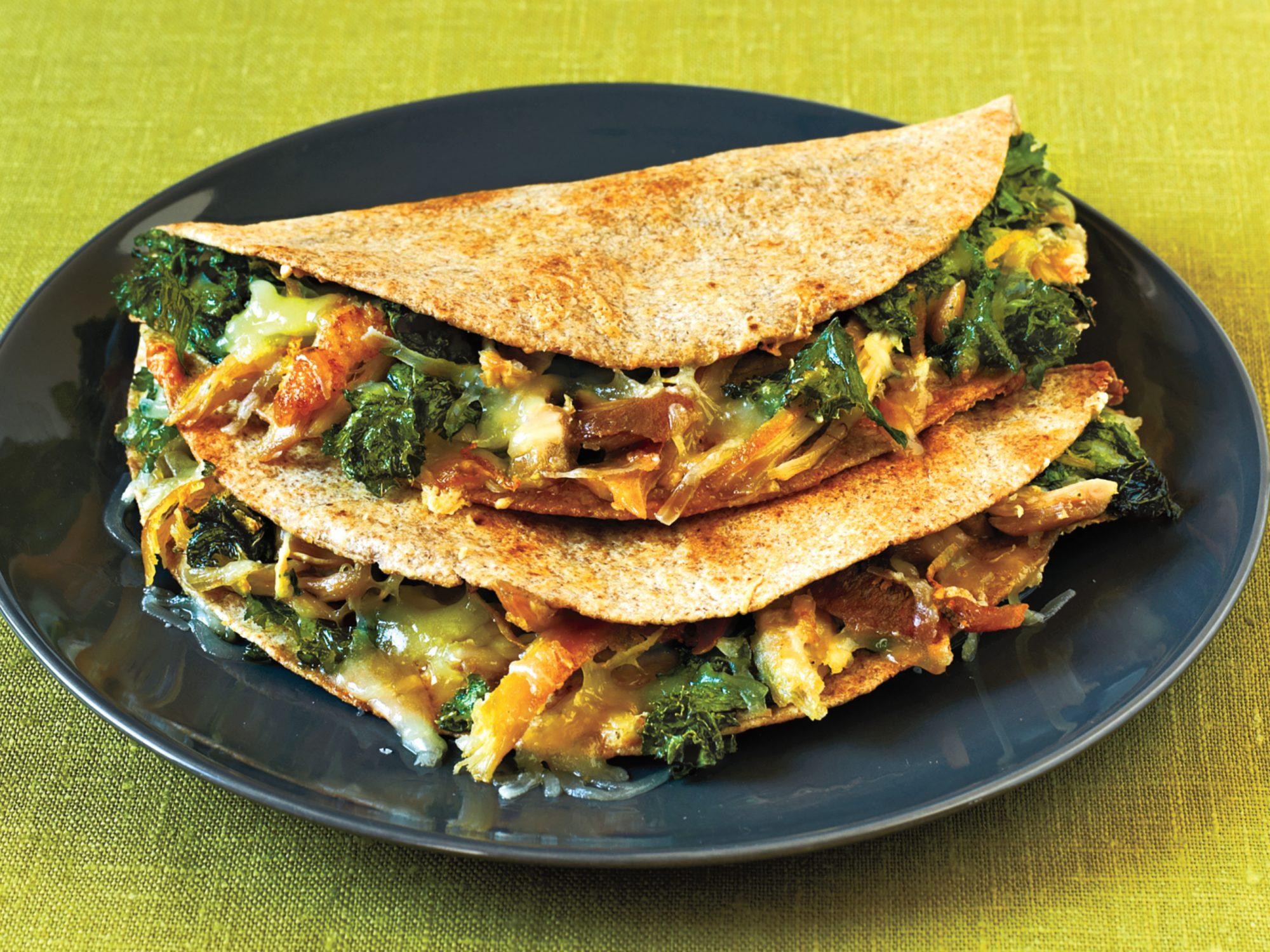 Chicken, Mustard Greens, and Gruyere Quesadillas
