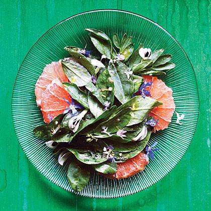 Fava Green, Grapefruit, and Flower Salad Recipe