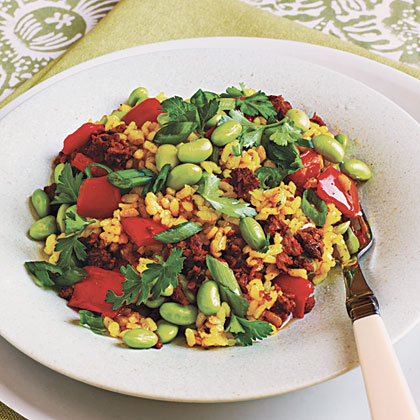 Paella with Soy Chorizo and Edamame