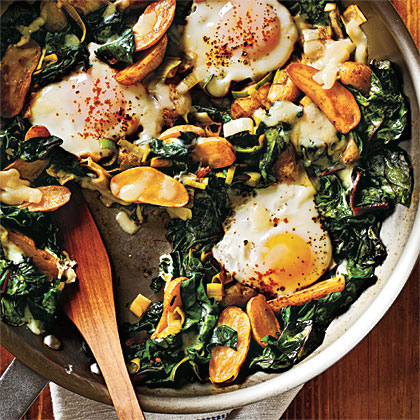 Fingerling Potato-Leek Hash with Swiss Chard and EggsRecipe