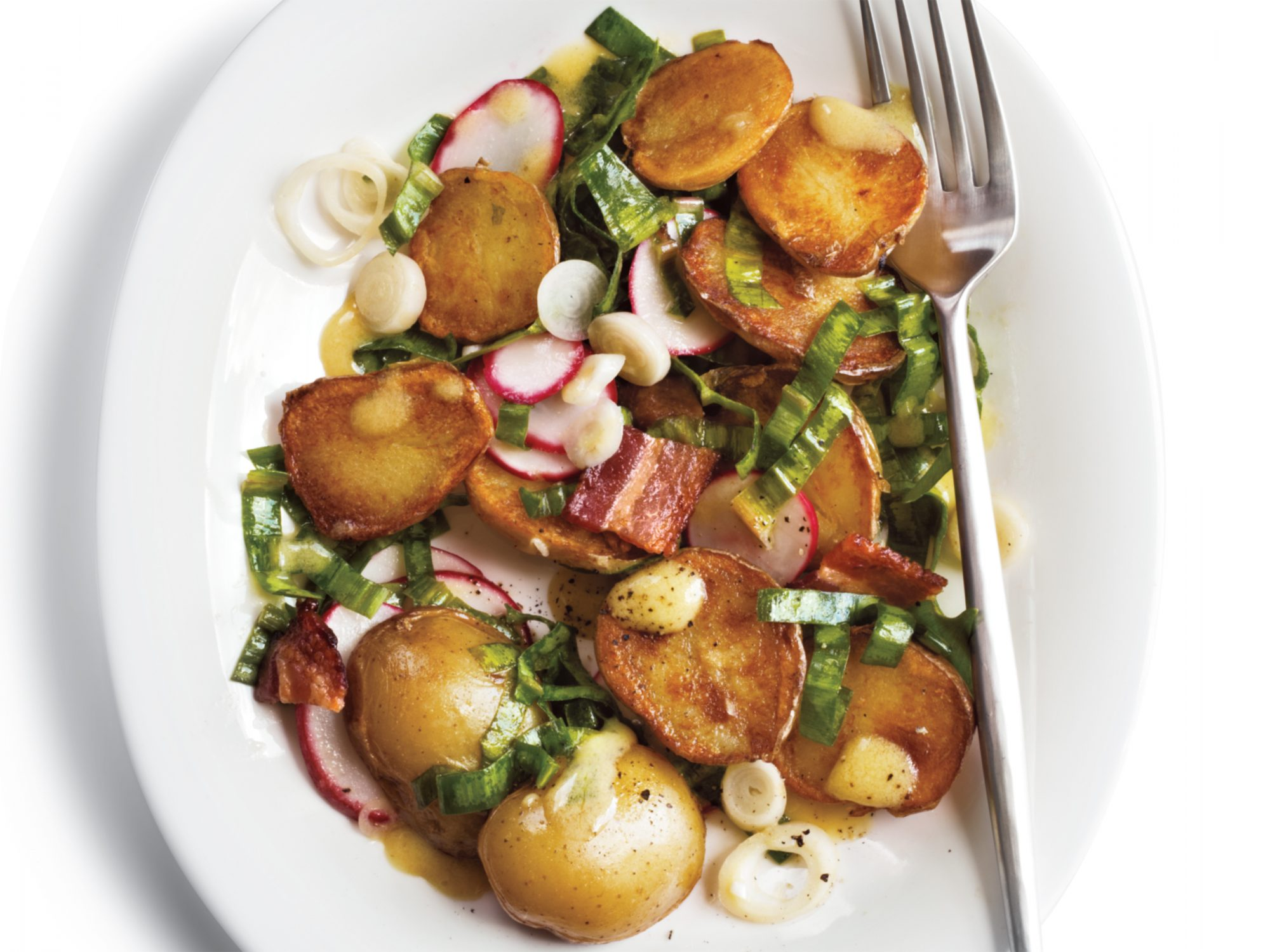 Warm Potato Salad with Ramps and Bacon