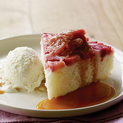 Rhubarb Upside-Down Cake with Rosemary Caramel Sauce