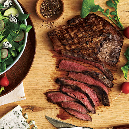 Steak with Cucumber-Radish Salad