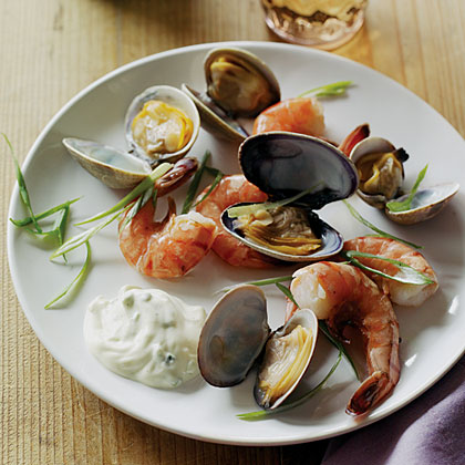 Cedar-Steamed Prawns and Clams with Onion Mayonnaise Recipe