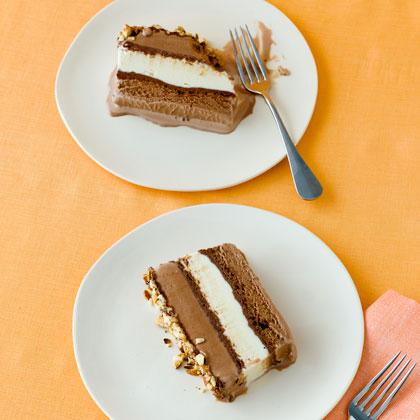 <p>Chocolate, Hazelnut, and Vanilla Ice Cream Cake</p>