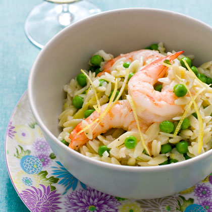 <p>Orzo with Shrimp and Tiny Peas</p>
