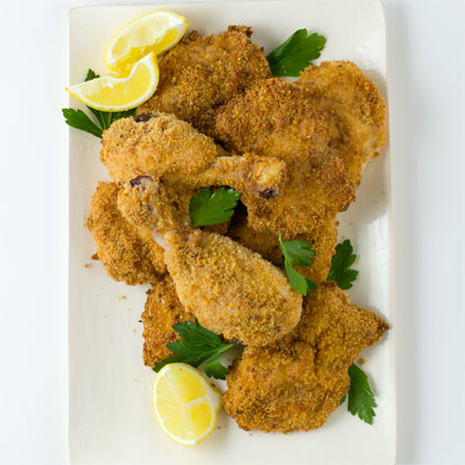 <p>Oven-Fried Parmesan-Crusted Chicken</p>