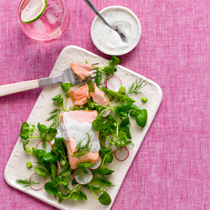 <p>Poached Salmon and Watercress Salad with Dill-Yogurt Dressing</p>