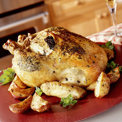 Double-Herb Roasted Chicken and Potatoes Recipe