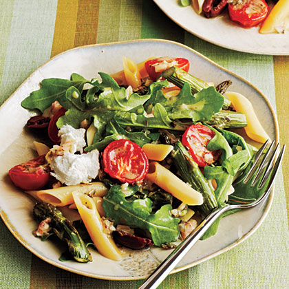 Roasted Asparagus and Tomato Penne Salad with Goat Cheese Recipe ...