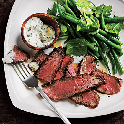 Flank Steak with Spicy Lemon Sauce