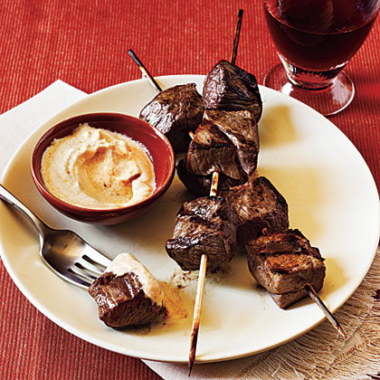Yogurt works double duty as marinade and dipping sauce in this easy dish.Spiced Lamb Kebabs