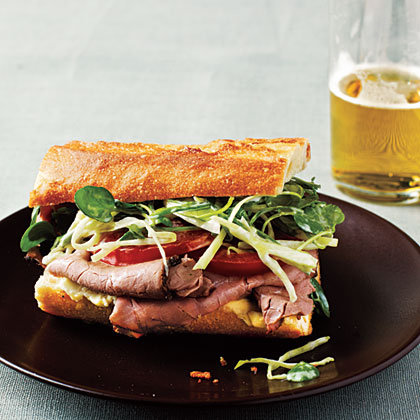 Roast Beef Sandwiches with Watercress Slaw Recipe